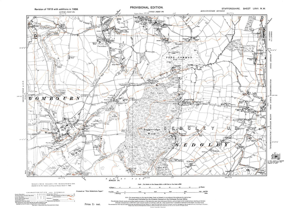 Wombourn, Upper Penn (S), Sedgley (W), Staffordshire in 1938 (67 NW)