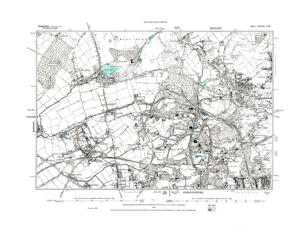 Gornal Wood, Kingswinford, Himley, Staffordshire in 1886 (67 SW)
