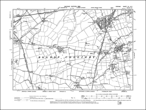 DURHAM 07NE : Old map of West Boldon, Boldon Colliery in 1898