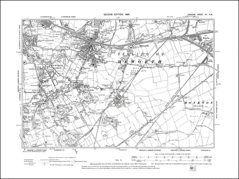 DURHAM 07NW : Old map of Heworth, Windy Nook in 1898