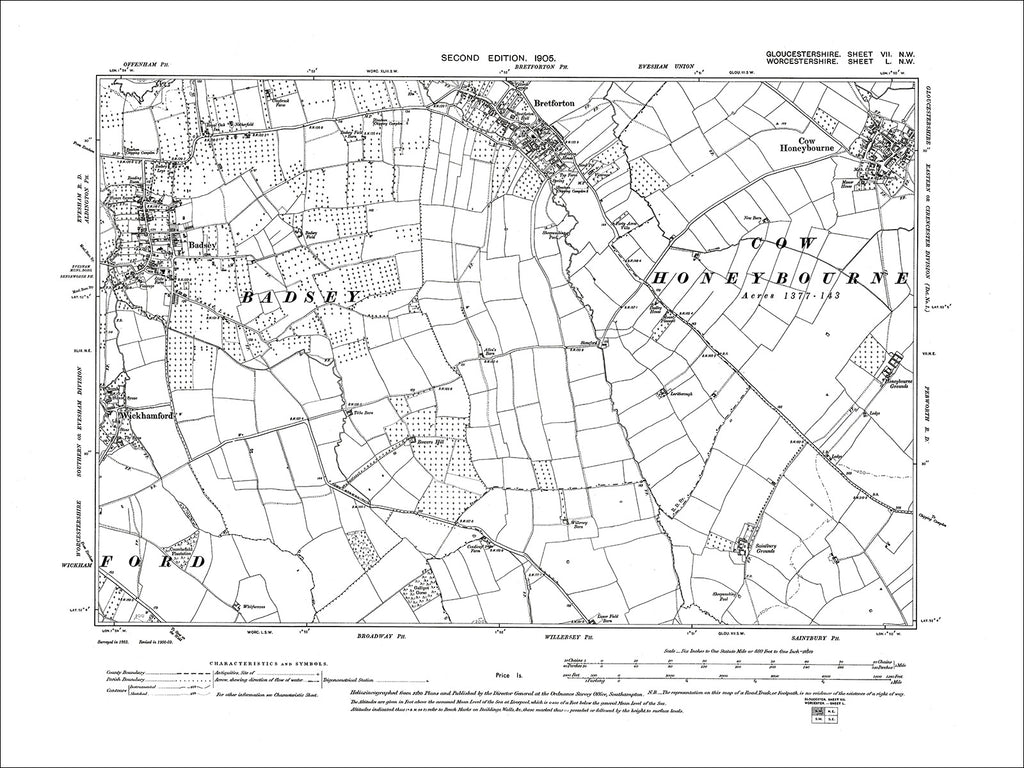 GLOUCESTERSHIRE 07NW : Old map of Bretforton, Cow Honeybourne in 1903