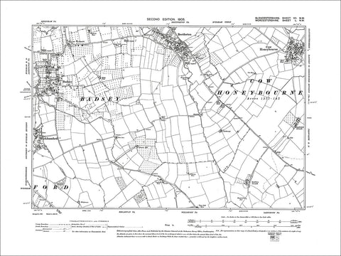 GLOUCESTERSHIRE 07NW : Old map of Badsey, Wickhamford in 1903