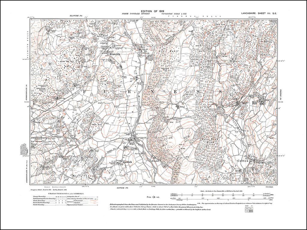 LANCASHIRE 07SE : old map of Blawith, Colton, Lowick, in 1919