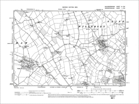 GLOUCESTERSHIRE 07SW : Old map of Willersey, Childs Wickham in 1903