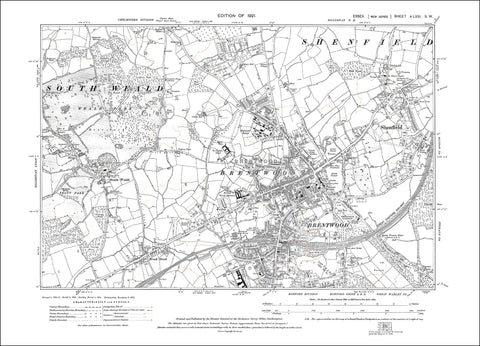 Brentwood, Shenfield, South Weald, Essex 1921 (71SW)