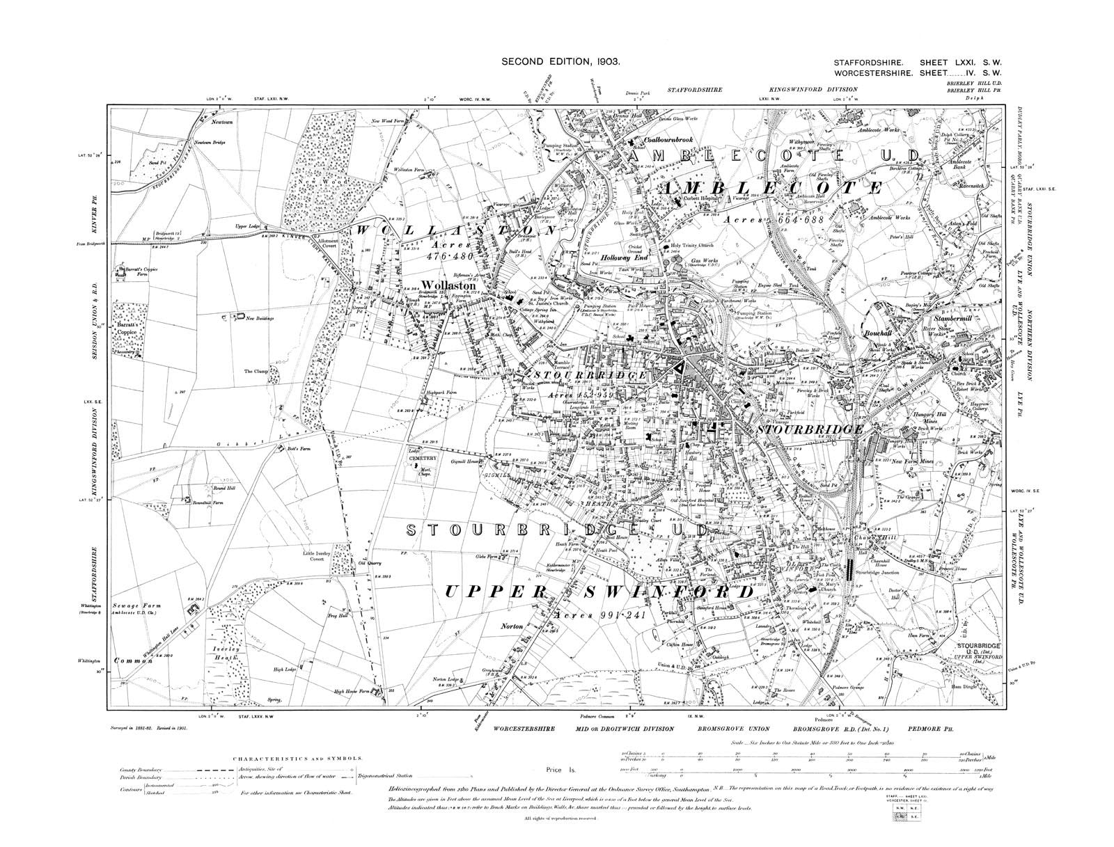 Old map of Amblecote Stourbridge Wollaston Staffordshire in 1904