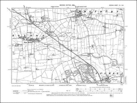 DURHAM 08NW : Old map of East Boldon, Cleadon, Fulwell (north) in 1898