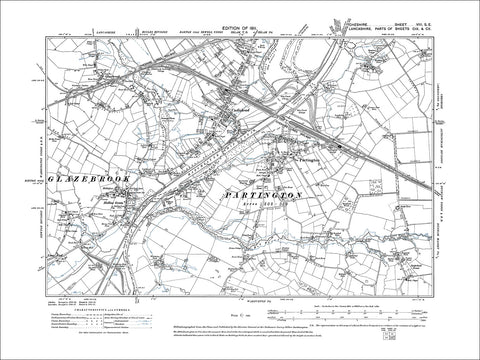 Partington, old map Cheshire 1911: 8SE