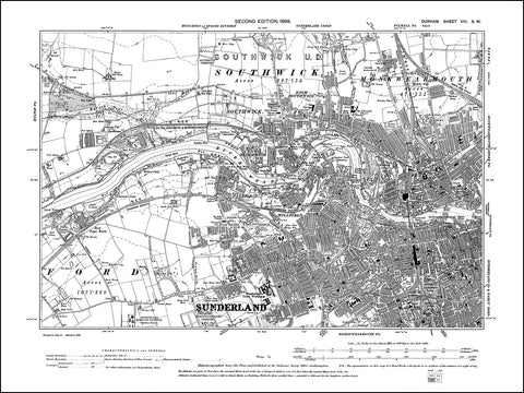 DURHAM 08SW : Old map of Sunderland, Southwick, Bishopwearmouth in 1898