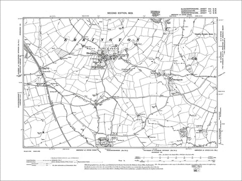 GLOUCESTERSHIRE 08SW : Old map of Ebrington in 1903