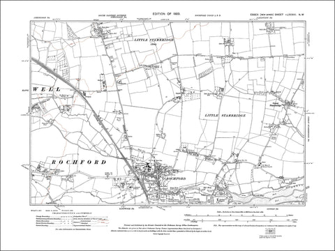 Rochford, Great Stambridge, Ashingdon (S), Hawkwell (E), Essex 1923 (83NW)