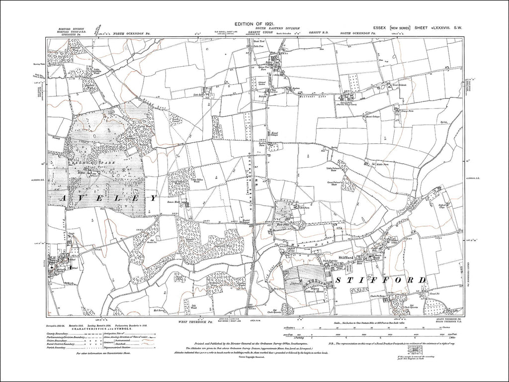 Stifford, Aveley (E), South Ockendon (S), Essex 1921 (88SW)