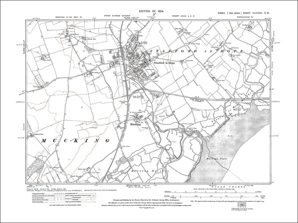 Old map of Stanford le Hope, Mucking, Essex 1924