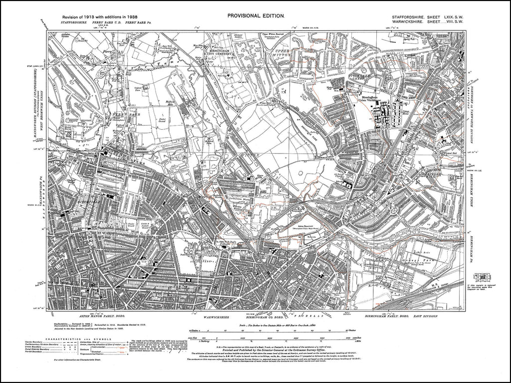 Birmingham, Aston Park, Witton, Perry Barr, Gravelly Hill in 1938 (8SW)