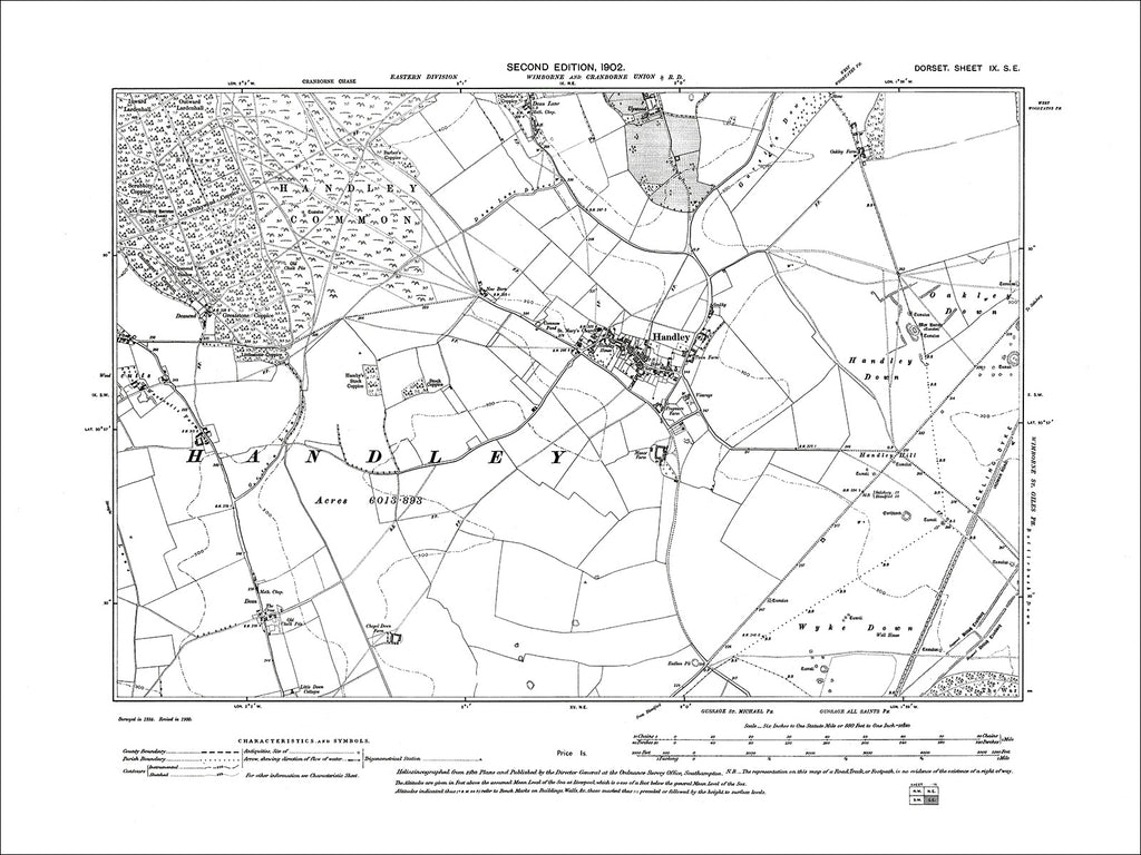 Dorset sheet 09SE - old map of Handley in 1902