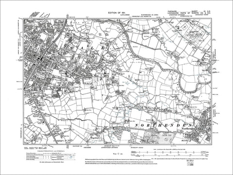 Sale, Northenden (W), Baguley, old map Cheshire 1911: 9SE