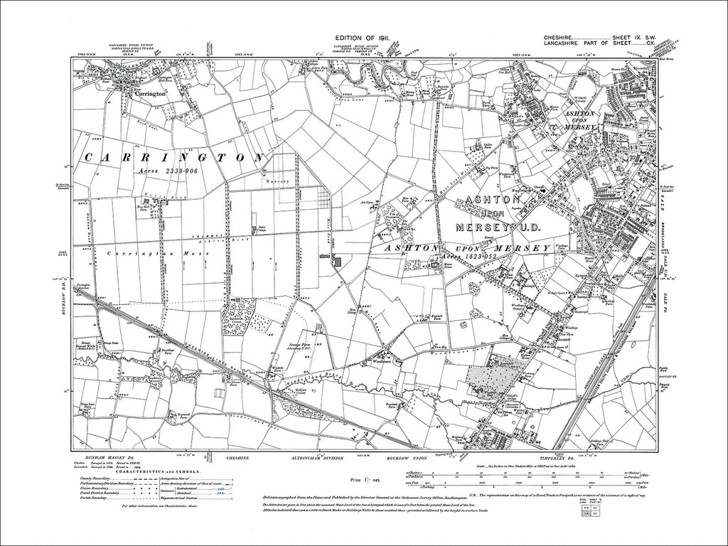 Sale (W), Ashton upon Mersey, Carrington, old map Cheshire 1911: 9SW