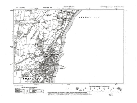 HAMPSHIRE 99NW Isle of Wight : Old map of Shanklin, Sandown Bay in 1909