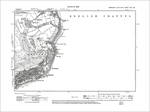 HAMPSHIRE 99SW Isle of Wight : Old map of Bonchurch, Luccomb Bay in 1909