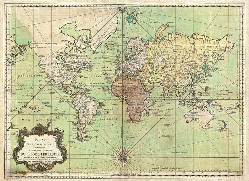World Map and Nautical Chart 1778