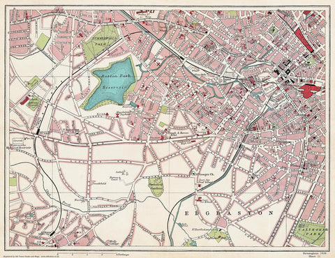 Edgbaston (north) area (Birmingham 1939 Sheet 11)