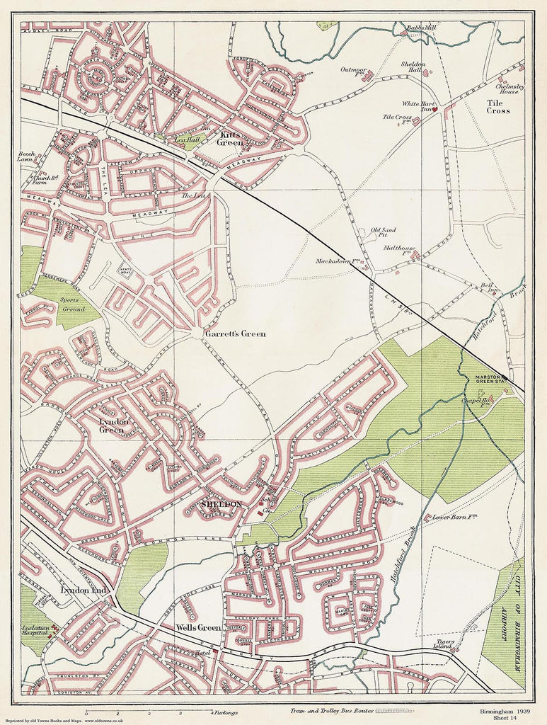 Sheldon area (Birmingham 1939 Sheet 14)