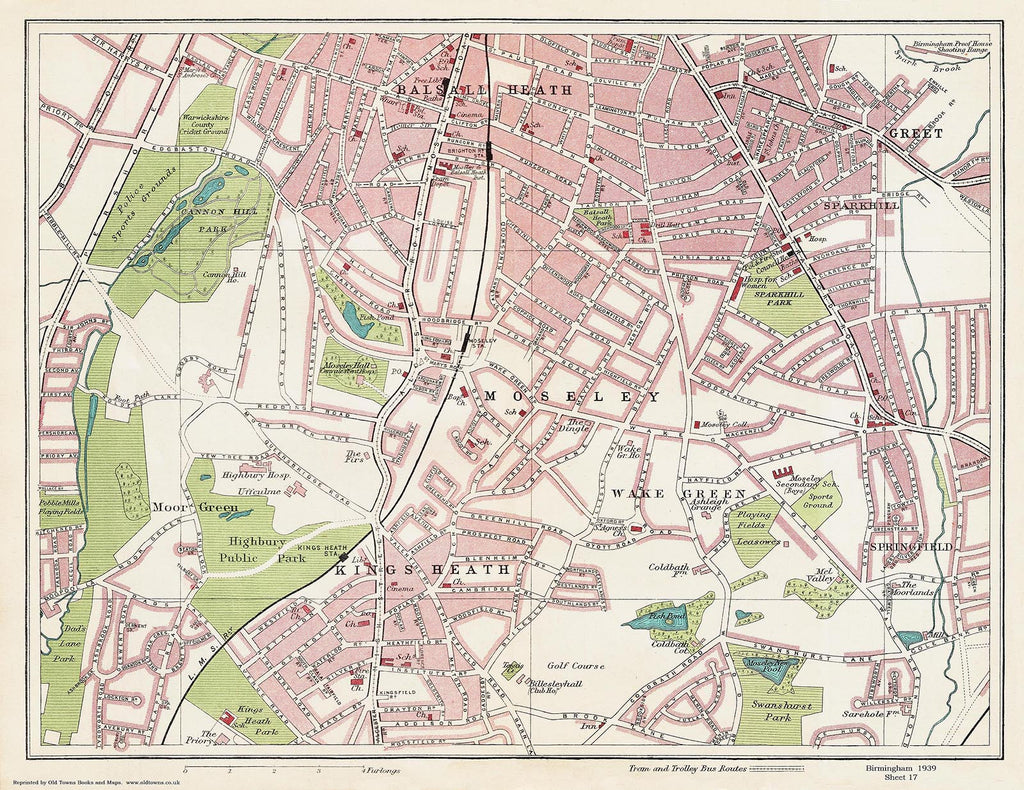 Moseley area (Birmingham 1939 Sheet 17)
