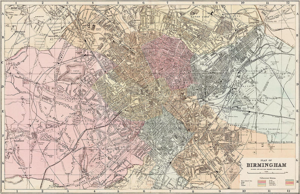 Birmingham town plan in 1890 by G. W. Bacon