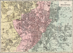 Bradford town plan in 1890 by G. W. Bacon