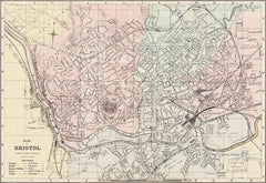 Bristol town plan in 1890 by G. W. Bacon