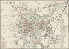 Cambridge town plan in 1890 by G. W. Bacon