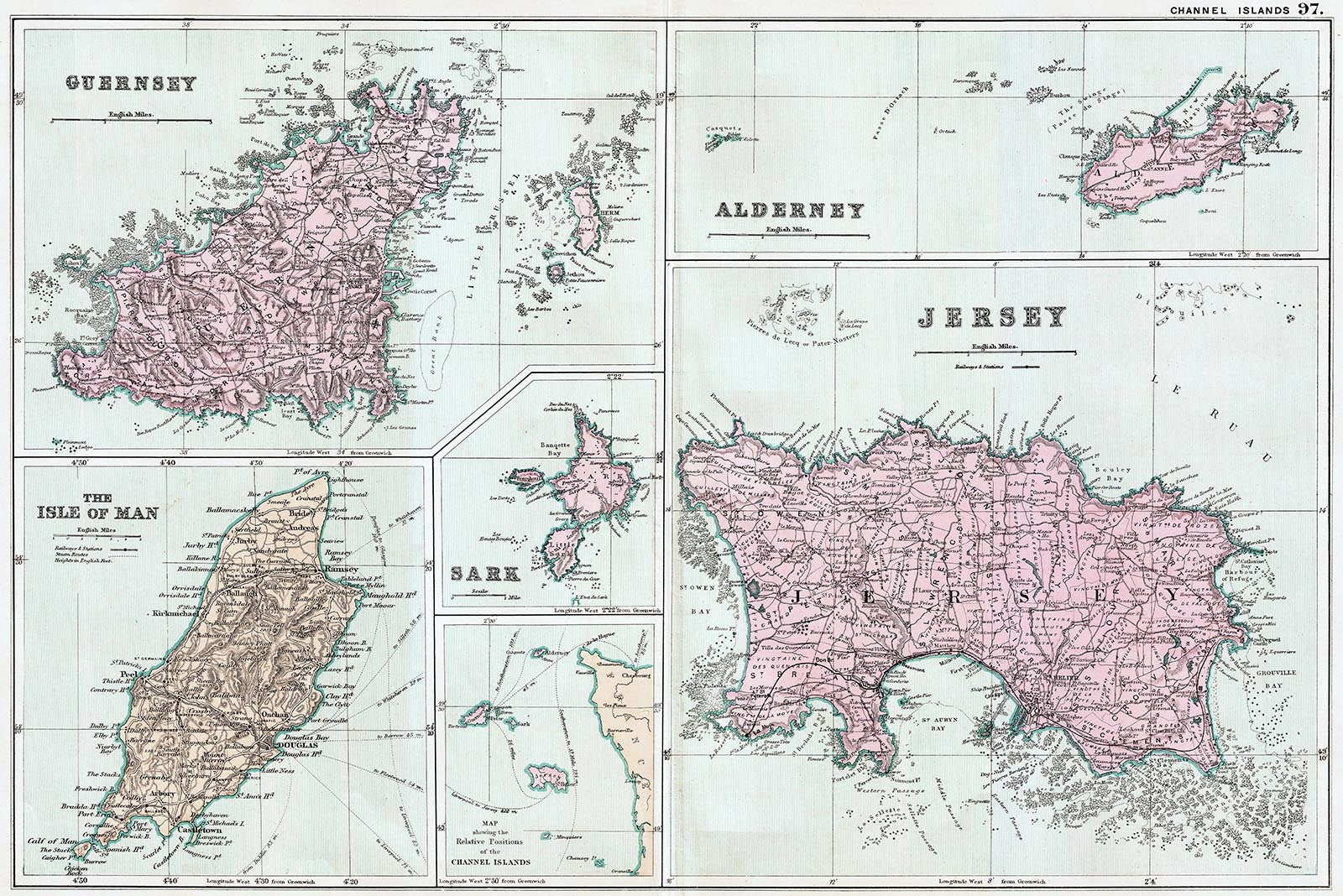 Channel Islands Isle Of Man In 1890 Old Towns Maps