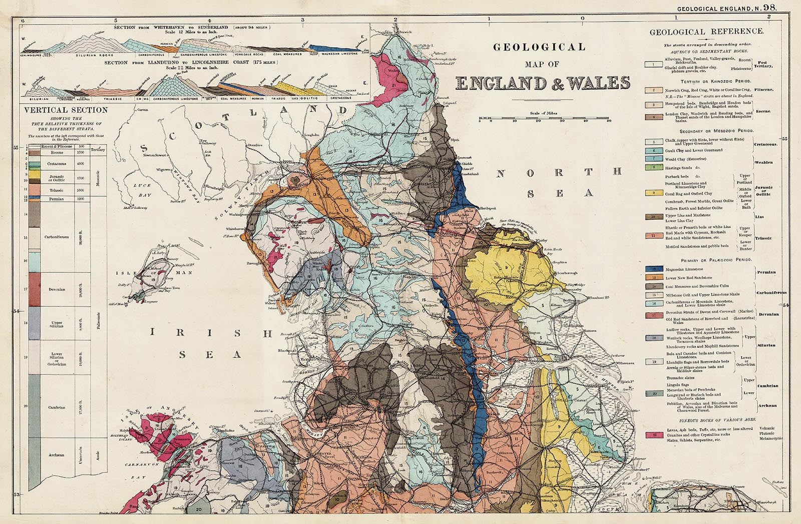 Map Of Wales And England With Towns.Geology Of England Wales North In 1890 By G W Bacon