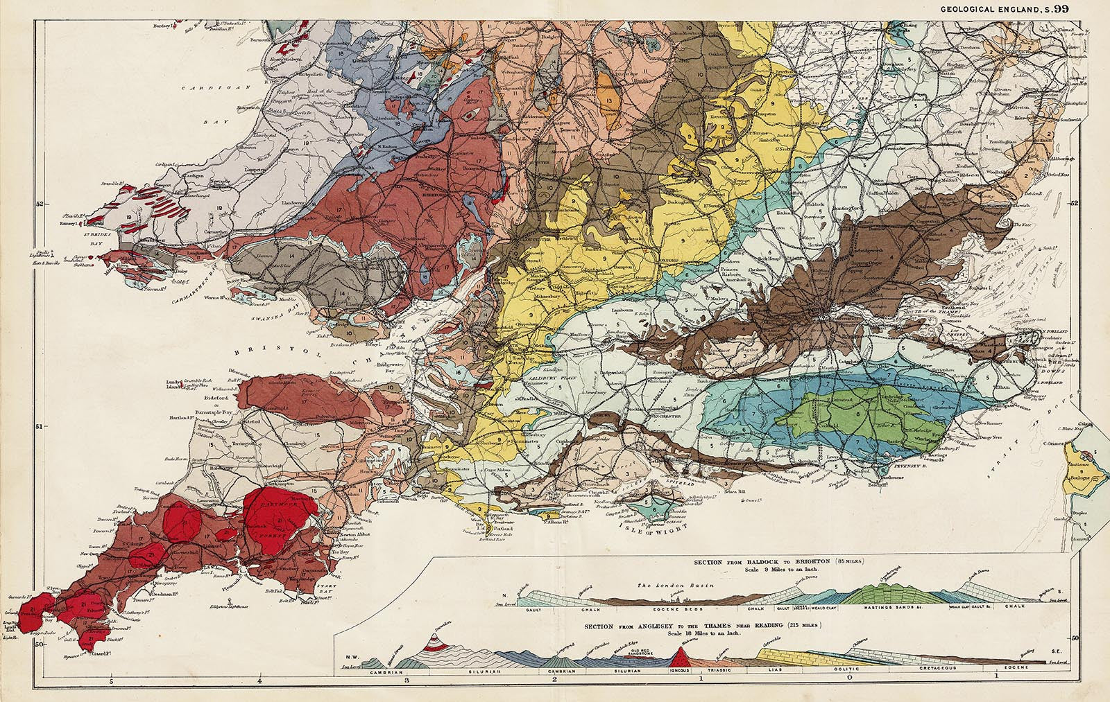 Map Of South England.Geology Of England Wales South In 1890 By G W Bacon