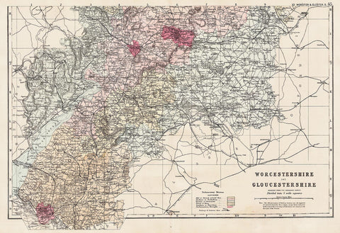 Gloucestershire & Worcestershire (south) in 1890 by G. W. Bacon