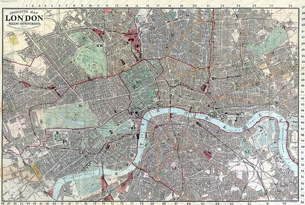 Old map of London Indicator Map of London by C Smith Son 1880