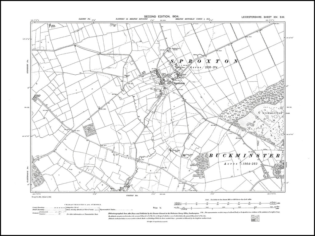Buckminster (W), Sproxton, Leicestershire in 1904 : 14 SW