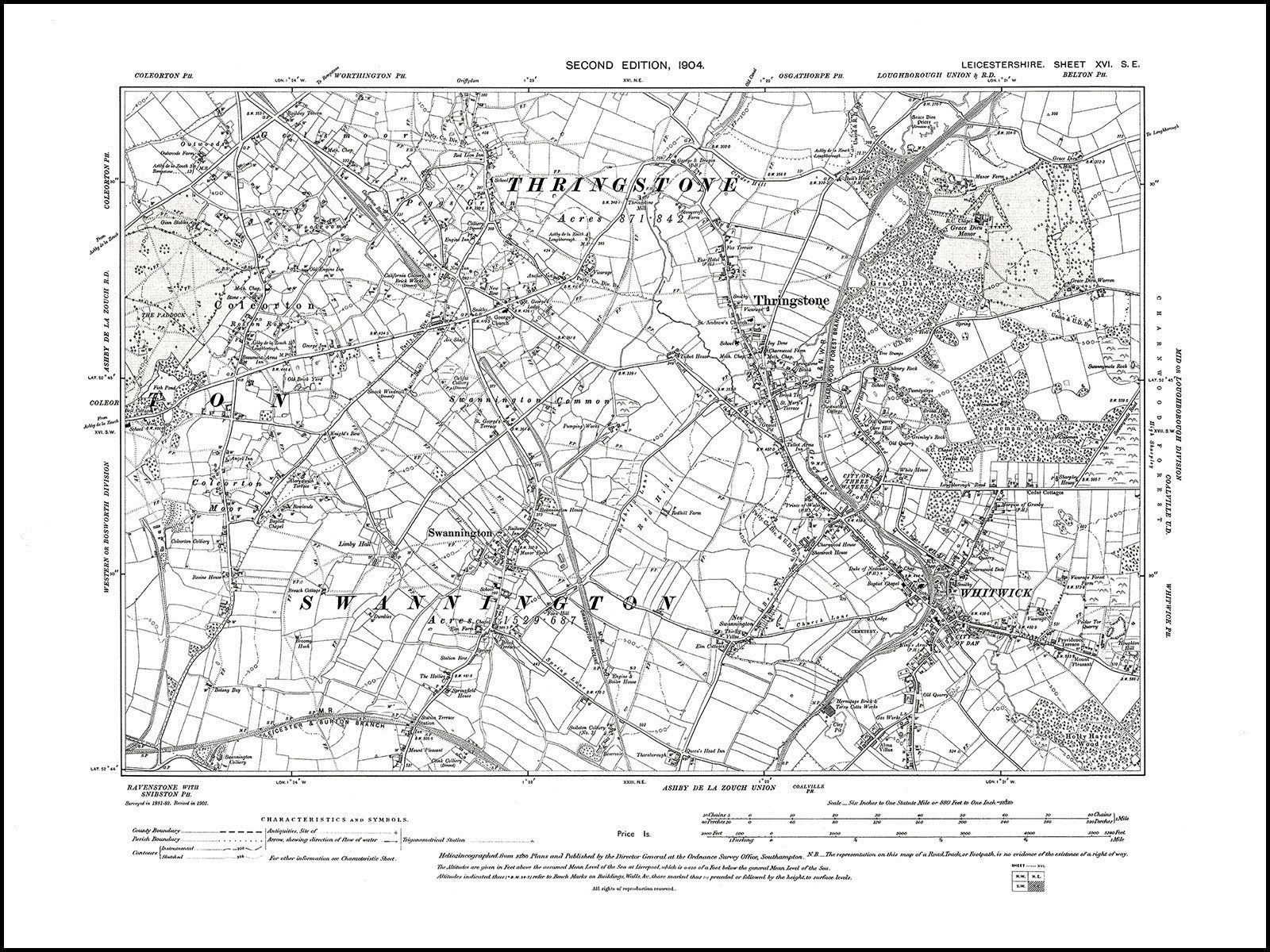 Se Colorado Map.Old Map 1904 Whitwick Thringstone Swannington Old Towns Maps