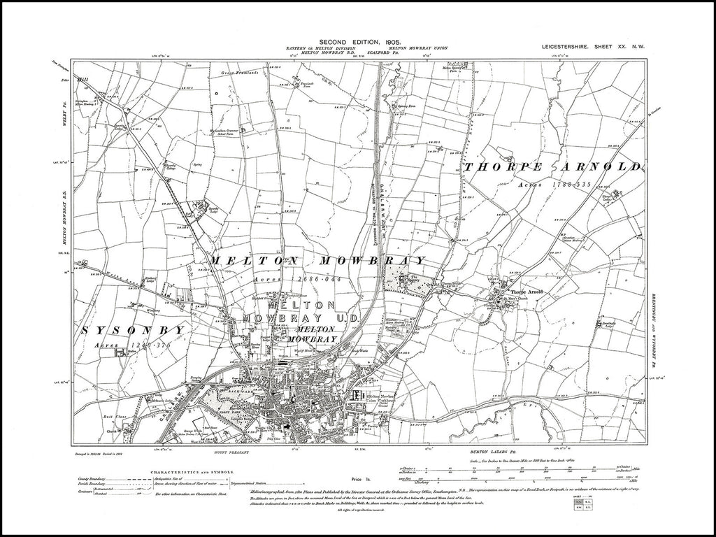 Melton Mowbray, Thorpe Arnold, Leicestershire in 1905 : 20 NW