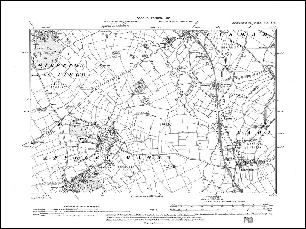Appleby Magna, Snarestone, Measham (S), Leicestershire in 1903 : 22 SE