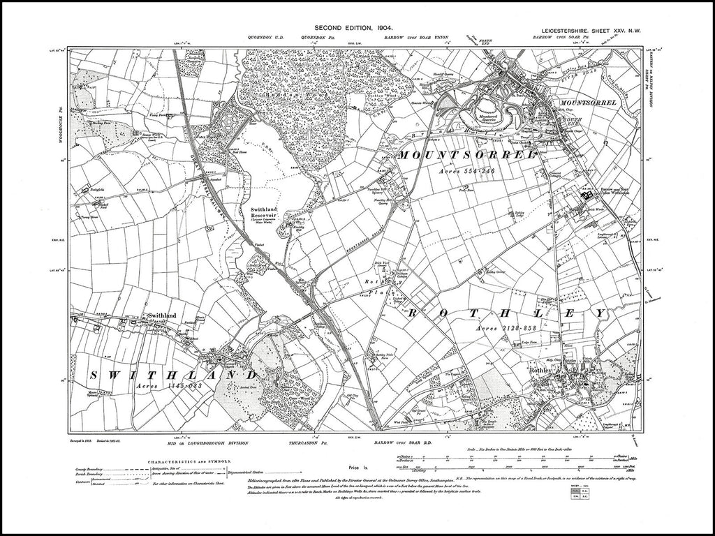 Mountsorrel, Rothley, Swithland, Leicestershire in 1904 : 25 NW