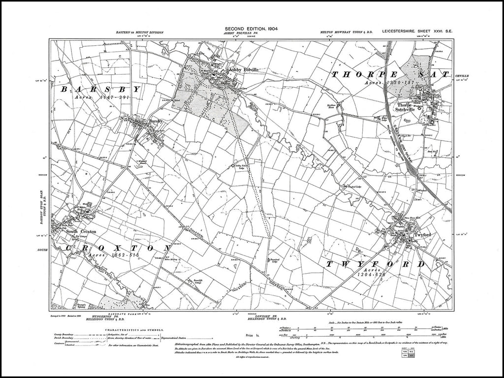 Ashby Folville, Thorpe Satchville, Twyford, South Croxton (E), Leicestershire in 1904 : 26 SE