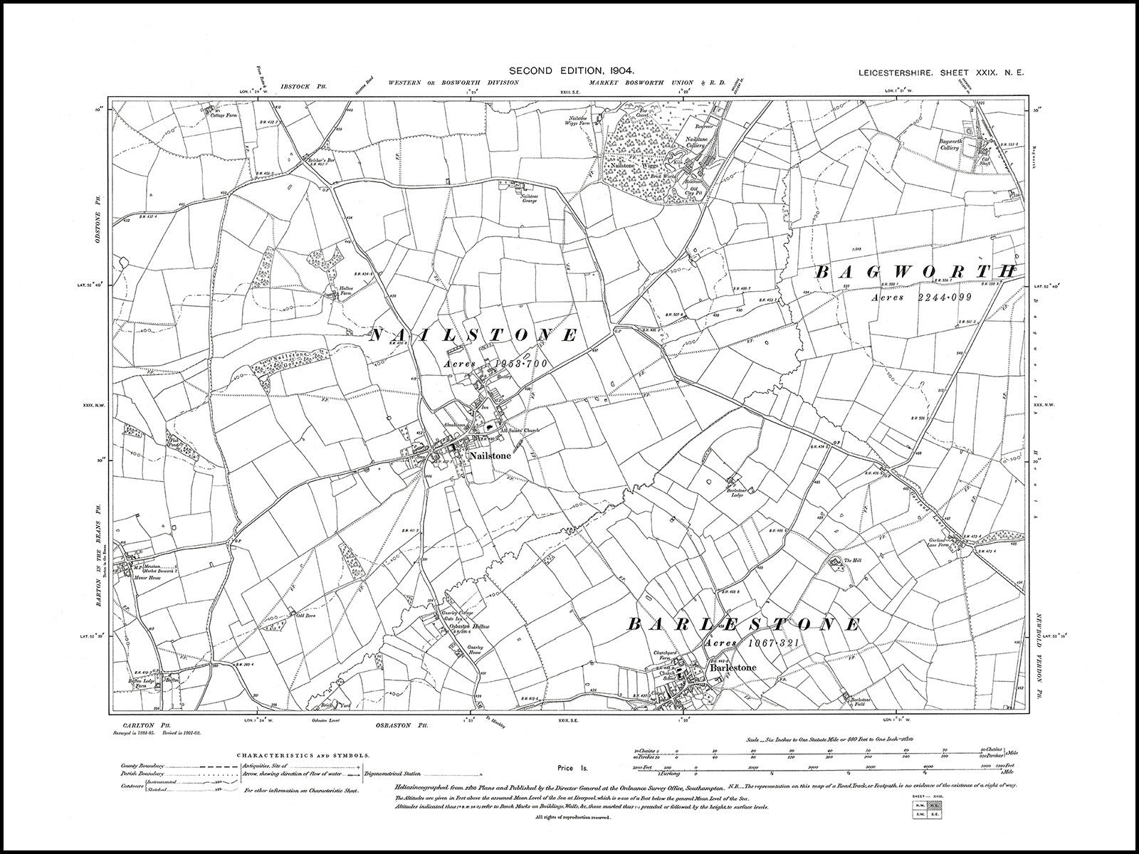 Map Of Uk 1900.Barlestone Nailstone Bagworth Colliery Leicestershire In 1904 29 Ne