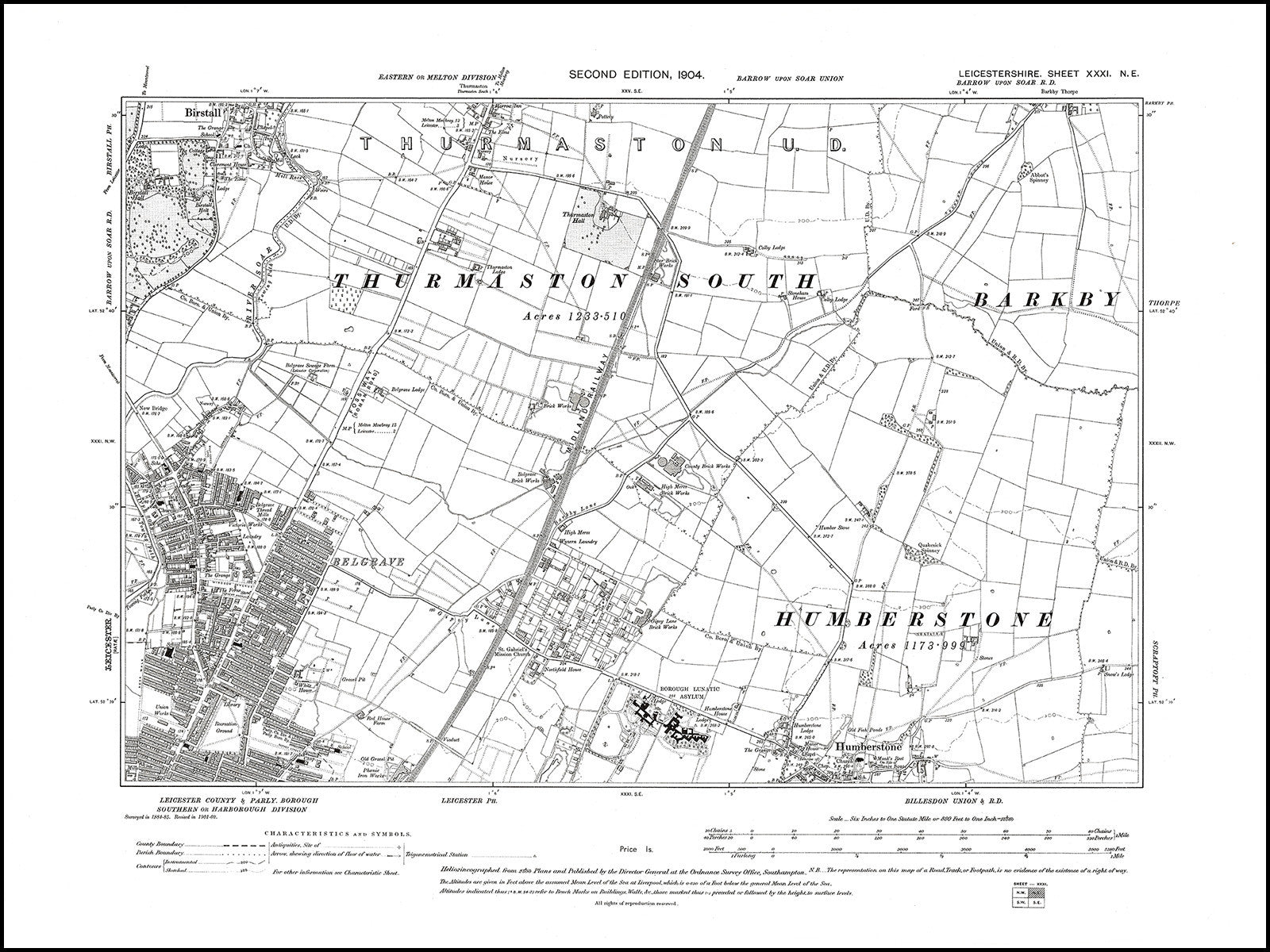 Map Of Uk Leicester.Leicester Ne Humberstone N Birstall S Thurmaston S Leicestershire In 1904 31 Ne