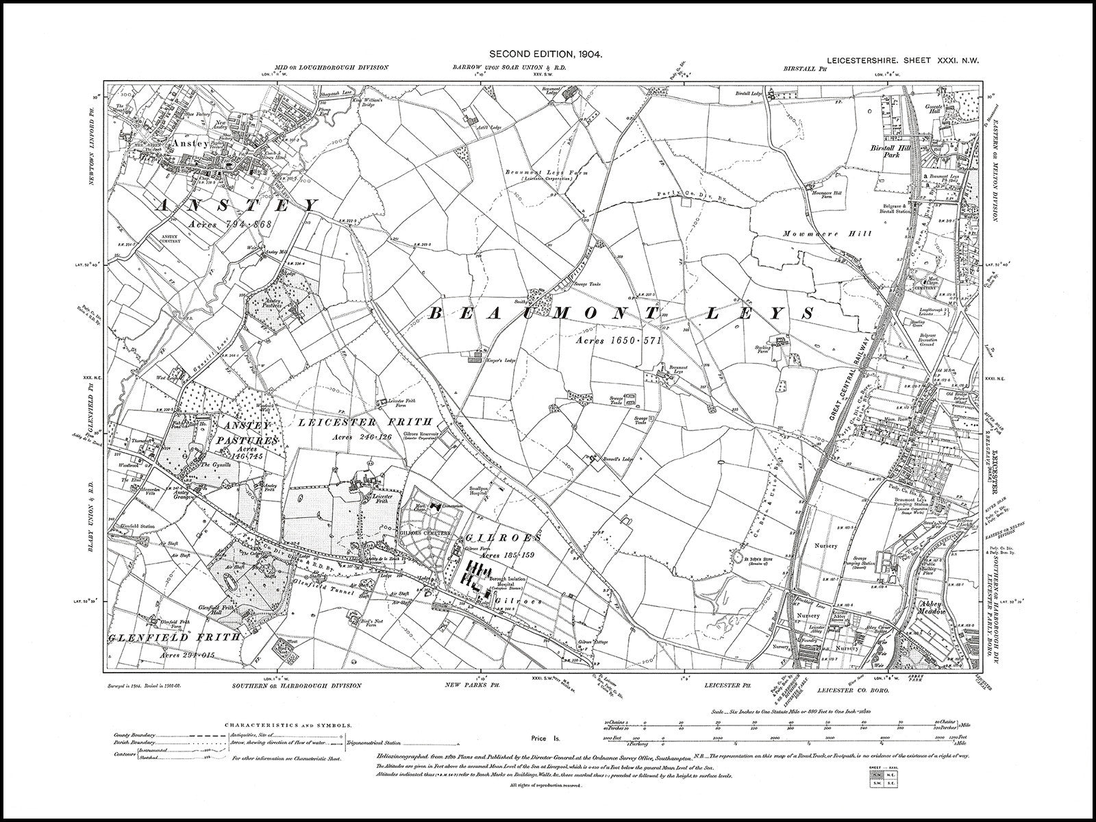 Leicestershire Uk Map.Old Map 1904 Leicester Nw Anstey Old Towns Maps