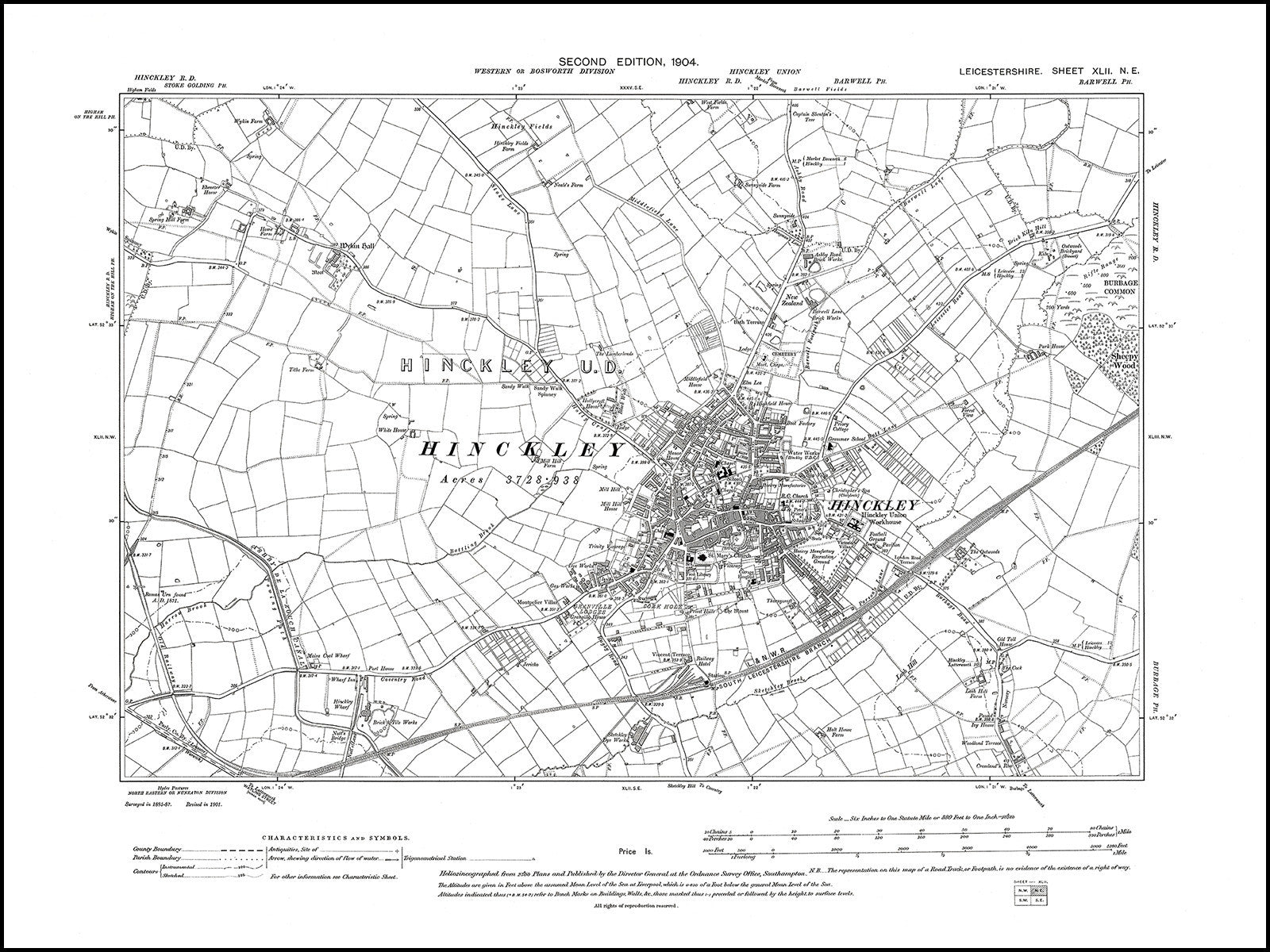 Map Of Uk 1900.Hinckley Leicestershire In 1904 42 Ne