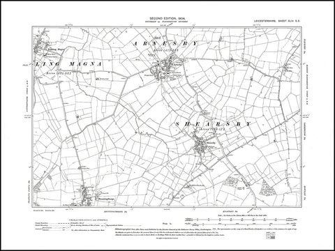 Arnesby, Shearsby, Bruntingthorpe (N), Peatling Magna (E), Leicestershire in 1904 : 44 SE