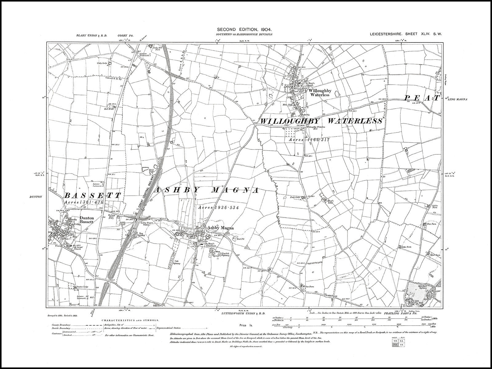 N Bruntingthorpe in 1904 old map Leicestershire 44SE Arnesby Shearsby
