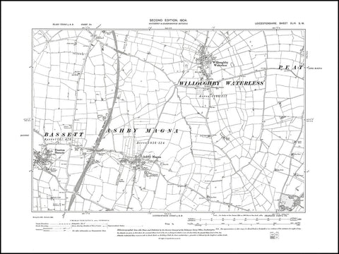 Ashby Magna, Willoughby Waterless, Dunton Bassett, Leicestershire in 1904 : 44 SW