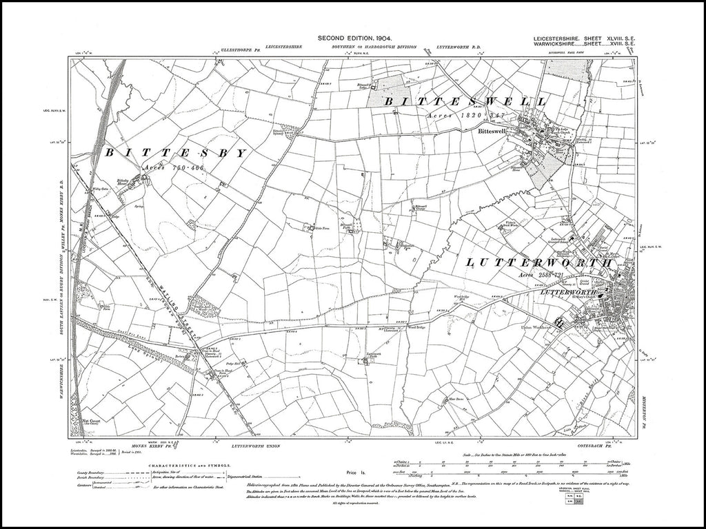 Lutterworth (W), Bitteswell, Leicestershire in 1904 : 48 SE